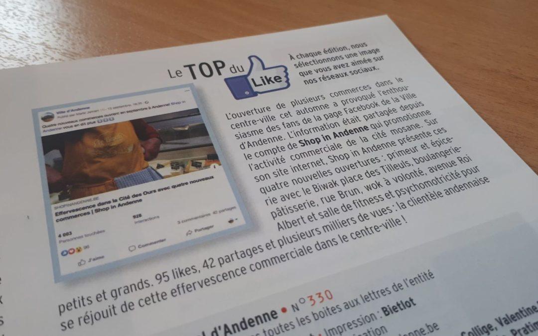 Belle surprise pour Shop in Andenne dans le magazine «Andenne, le Bulletin»